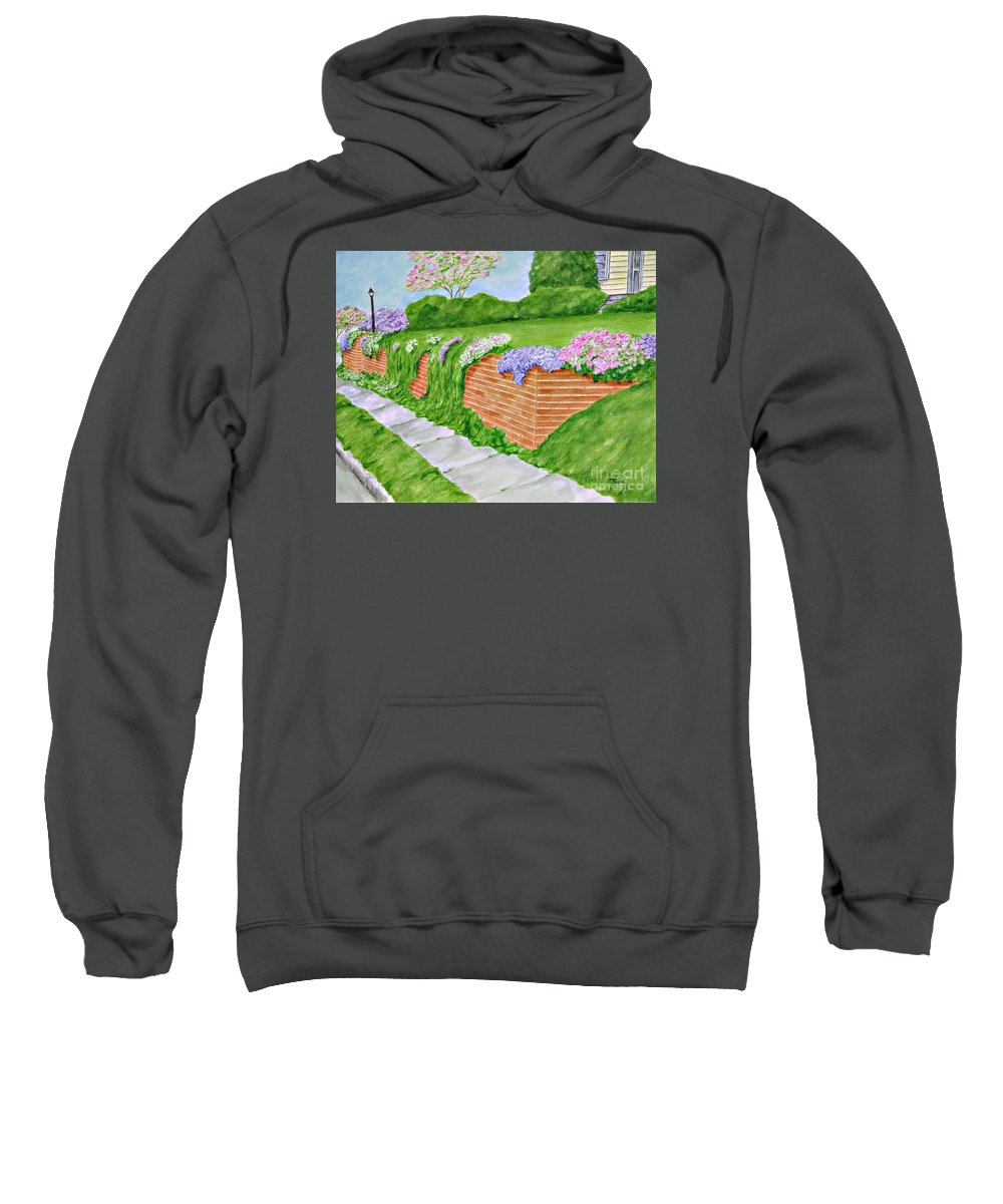 Landscape Sweatshirt featuring the painting Wall Of Flowers by Regan J Smith