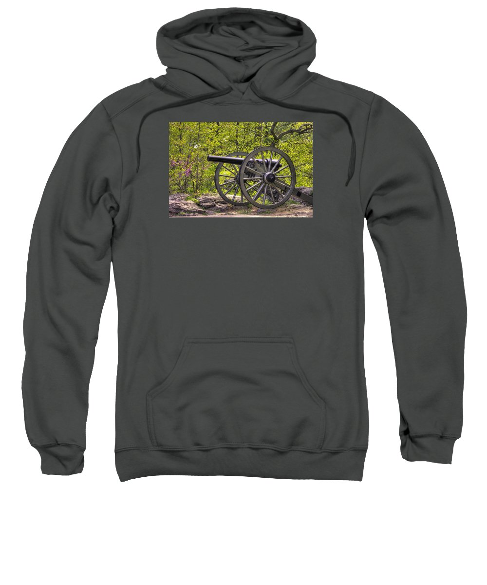 Civil War Sweatshirt featuring the photograph War Thunder - 5th United States Artillery Hazletts Battery - Little Round Top Gettysburg Spring by Michael Mazaika
