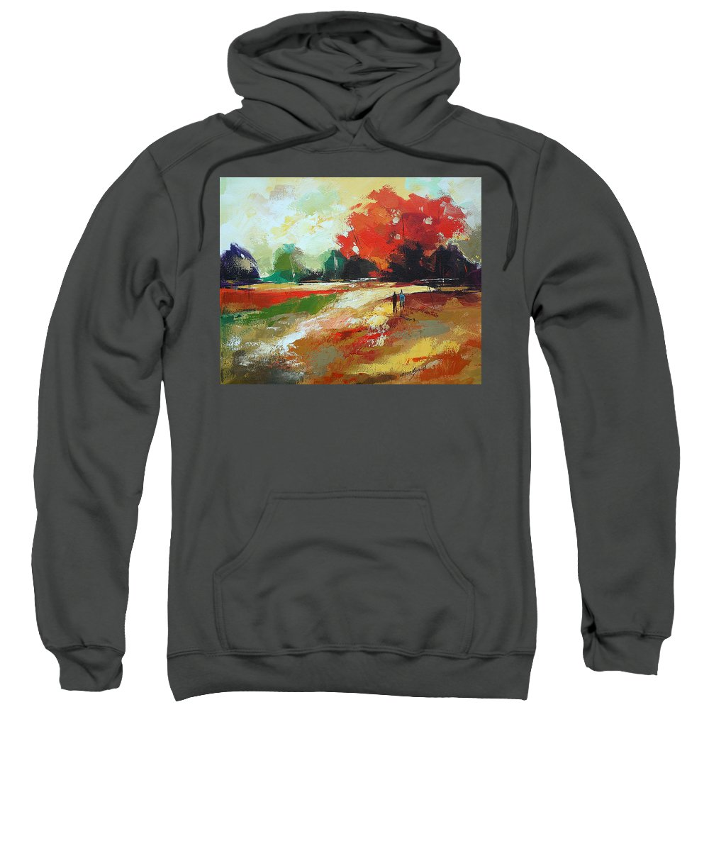 Fall Sweatshirt featuring the painting Warm Fall Day 2 by Said Oladejo-lawal