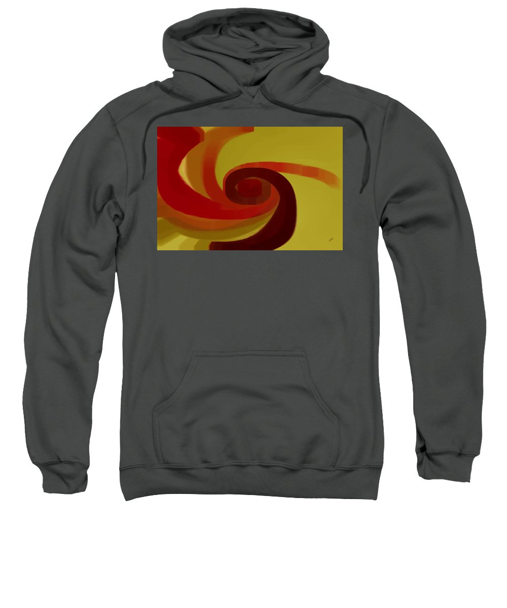 Spiral Sweatshirt featuring the digital art Warm Swirl by Ben and Raisa Gertsberg