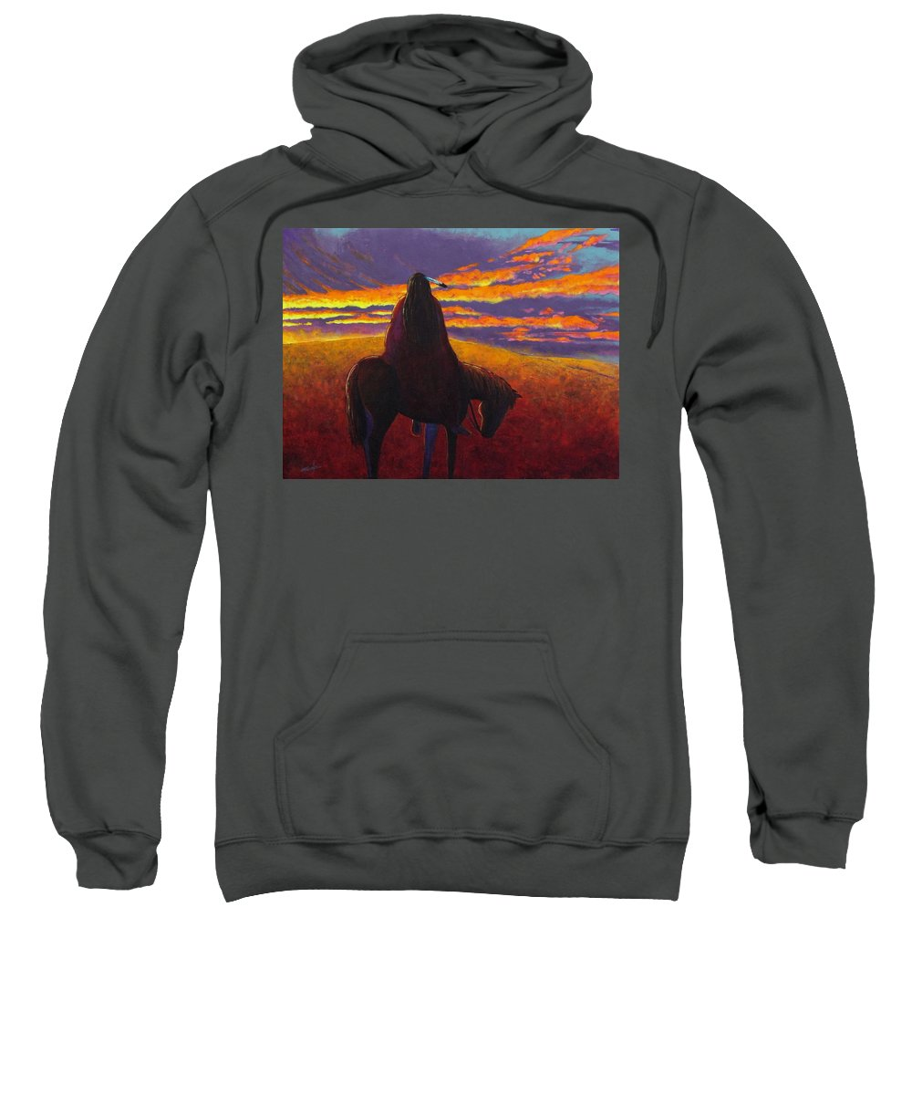 Native American Indian Sweatshirt featuring the painting Watching The Magic by Joe Triano