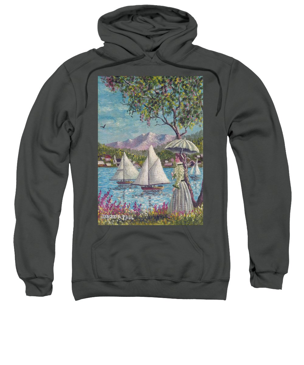 Sails Sweatshirt featuring the painting Watching The Sails by David G Paul
