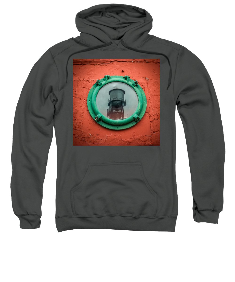 Window Sweatshirt featuring the photograph Water Tower Reflection by Paul Freidlund