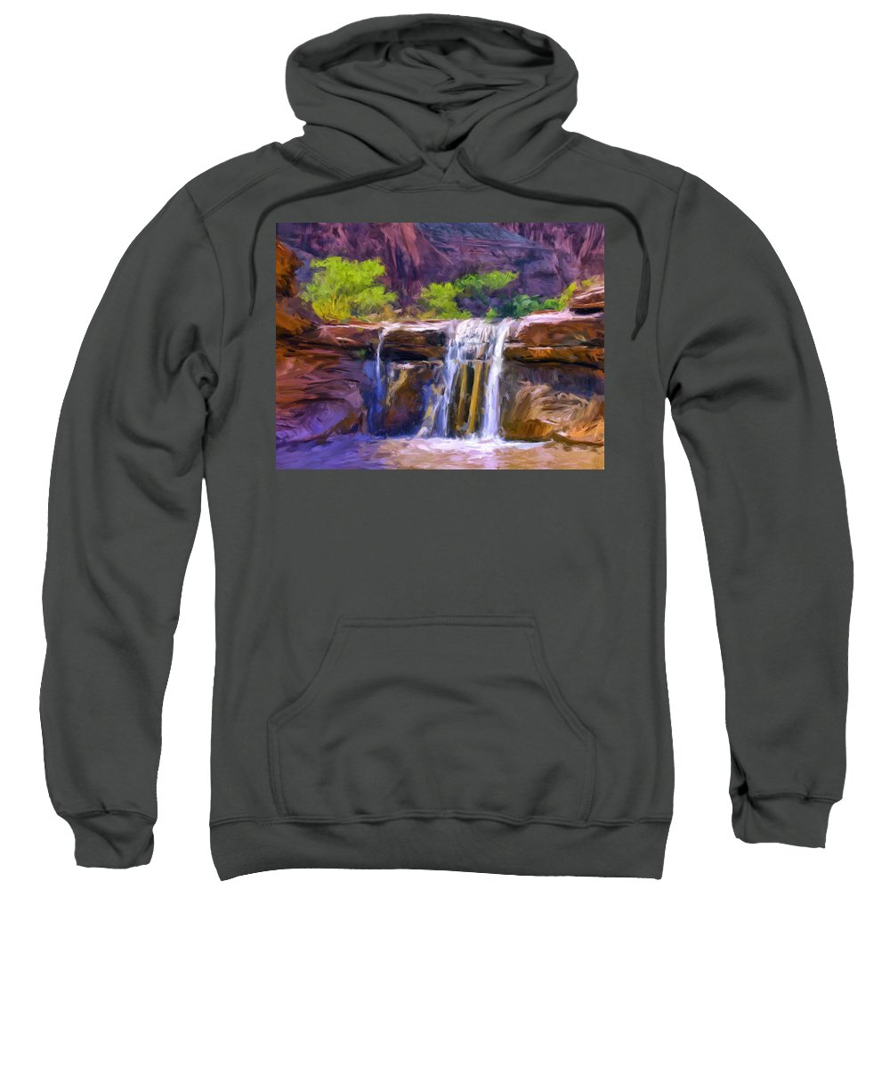 Waterfall Sweatshirt featuring the painting Waterfall At Coyote Creek by Dominic Piperata