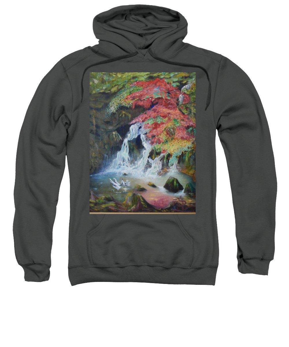Water Sweatshirt featuring the painting Japanese Waterfall by Jeff Troeltzsch