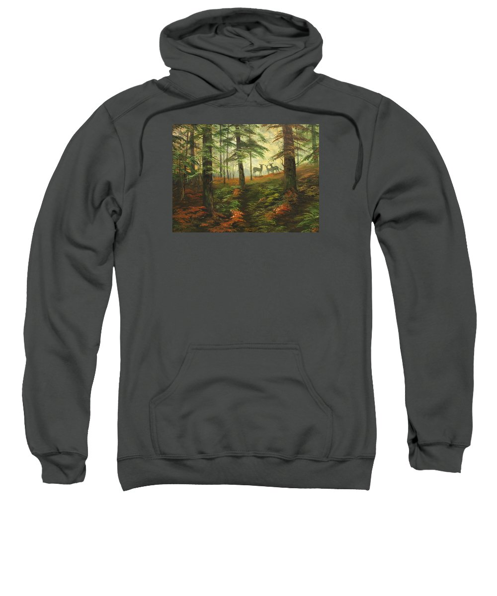 Cannock Chase Sweatshirt featuring the painting We Know That Stags Here Somewhere by Jean Walker