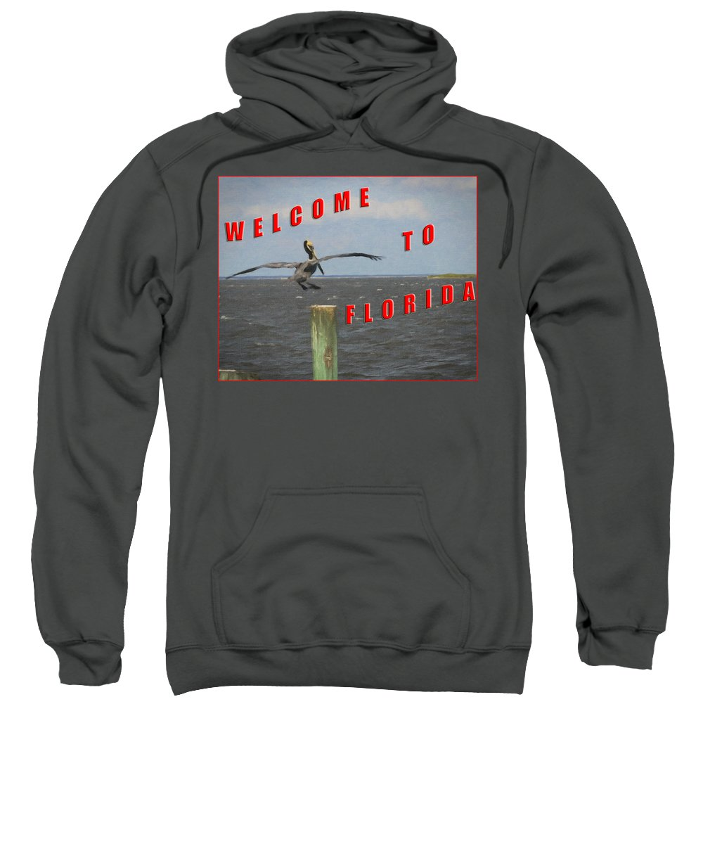 Cards Sweatshirt featuring the painting Welcome To Florida by Wynn Davis-Shanks