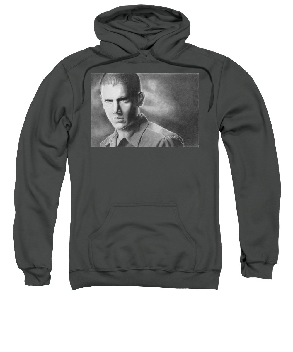 Drawing Sweatshirt featuring the drawing Wenworth Miller by Michal Straska