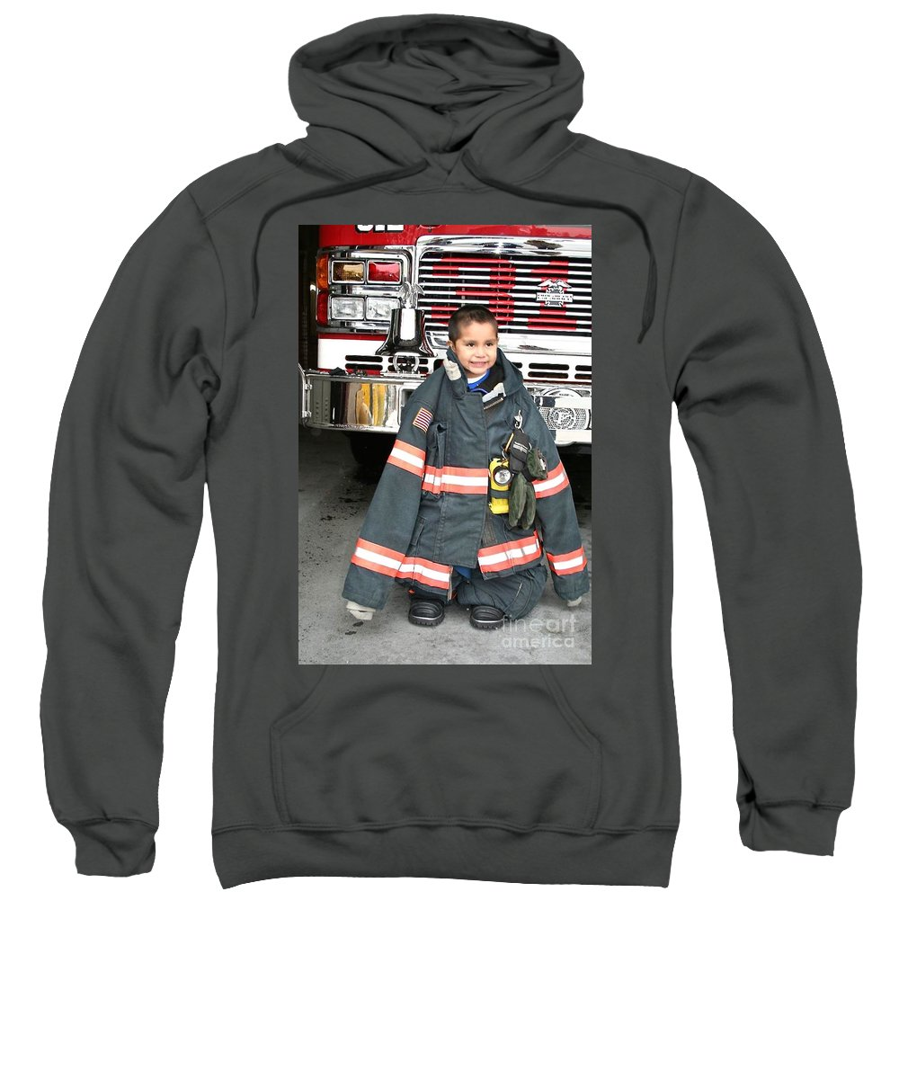 Fireman Sweatshirt featuring the photograph Where's The Fire? by Christy Gendalia