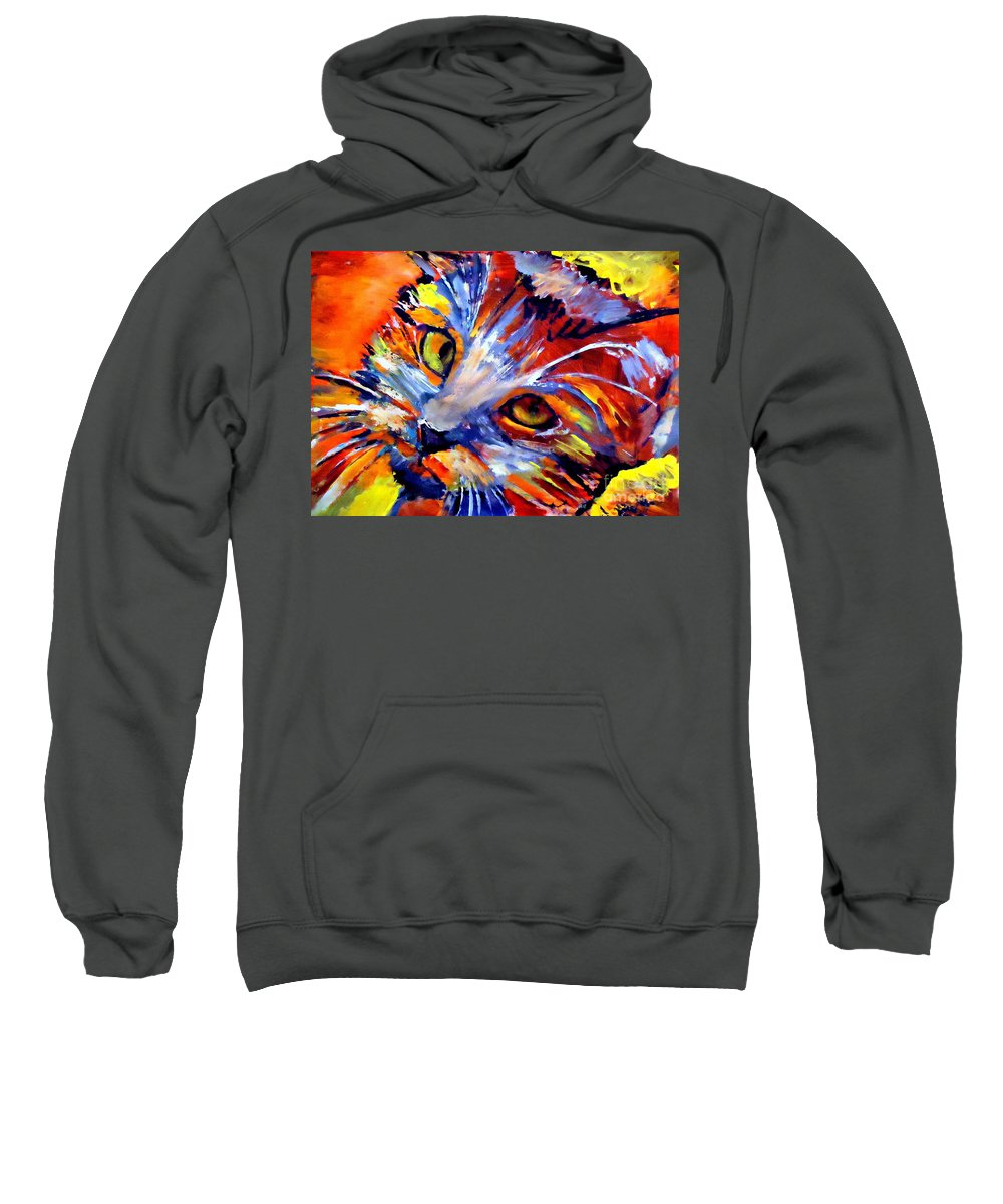 Art Sweatshirt featuring the painting Whiskers by Helena Wierzbicki