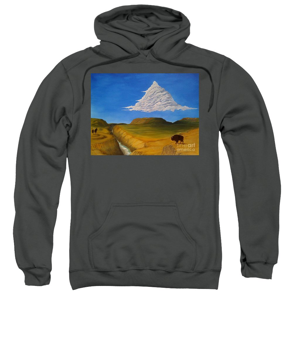 John Lyes Sweatshirt featuring the painting White Cloud by John Lyes