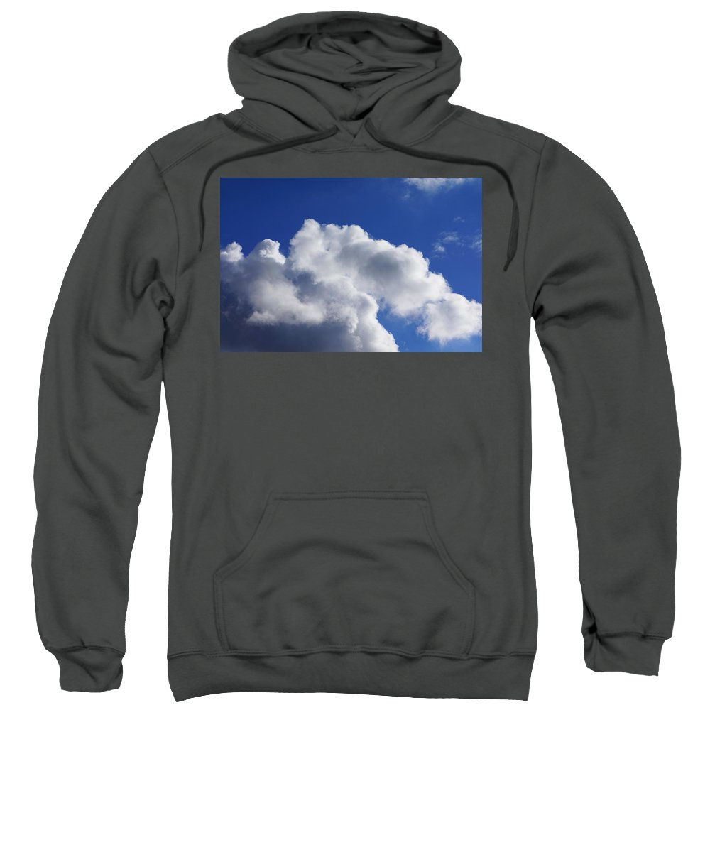 White Sweatshirt featuring the photograph White Clouds Art Prints Blue Sky by Baslee Troutman