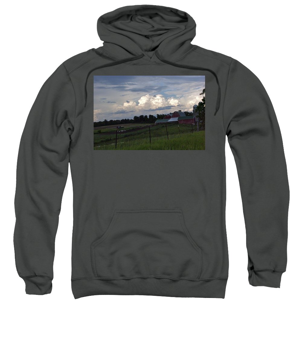 Bright Sweatshirt featuring the photograph White Clouds Over The Farm by Susan Wyman