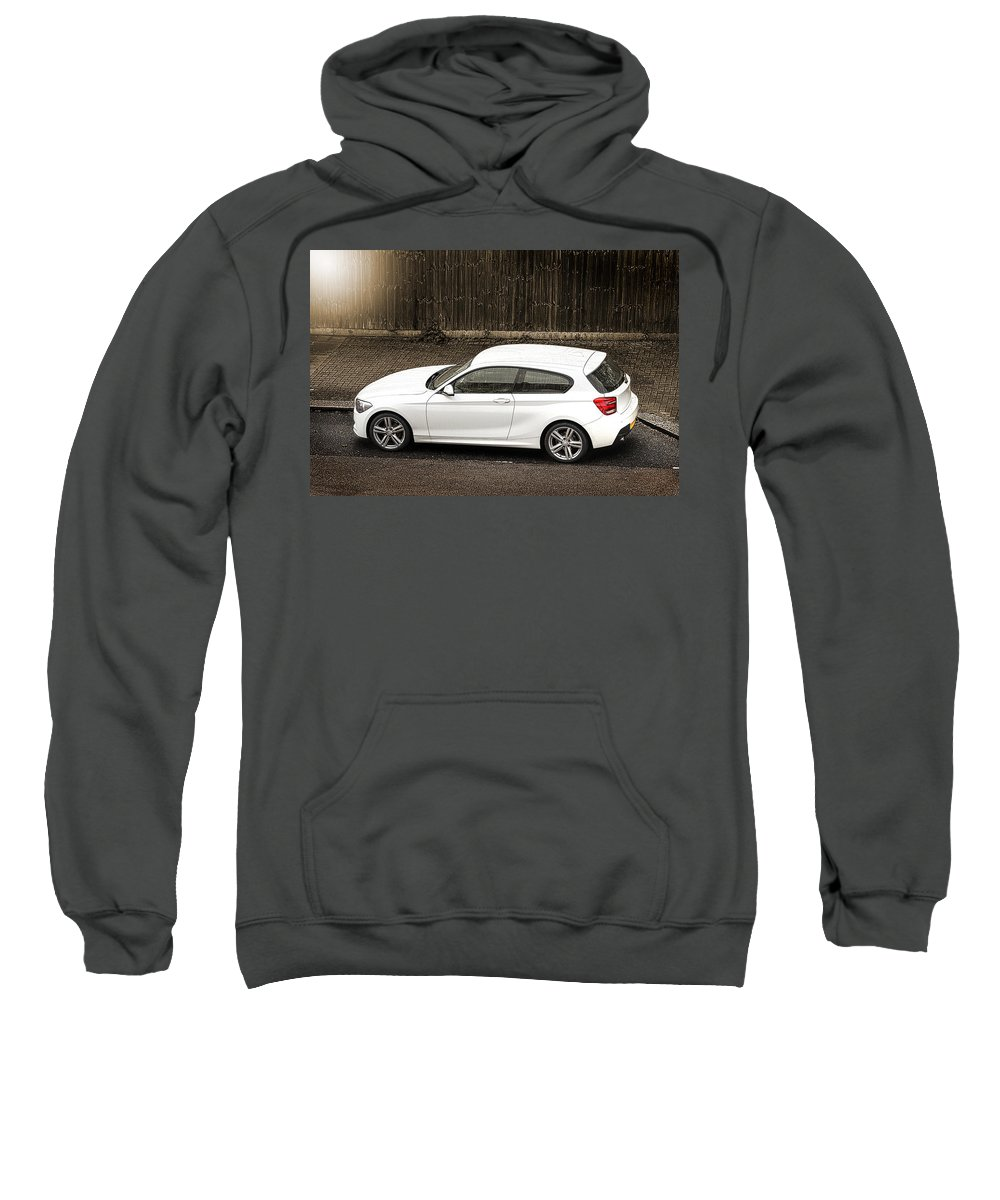Street Sweatshirt featuring the photograph White Hatchback Car by Dutourdumonde Photography