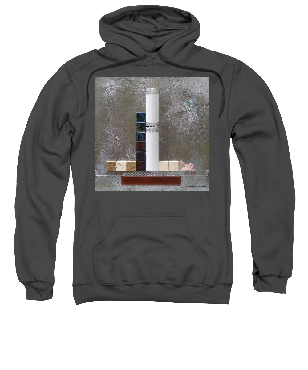 Assemblage Sweatshirt featuring the relief White Tower by Elaine Booth-Kallweit