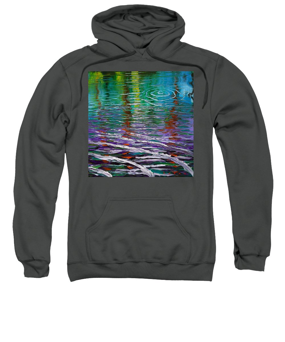Water Sweatshirt featuring the painting White Waves And Ripple by Les Lyden