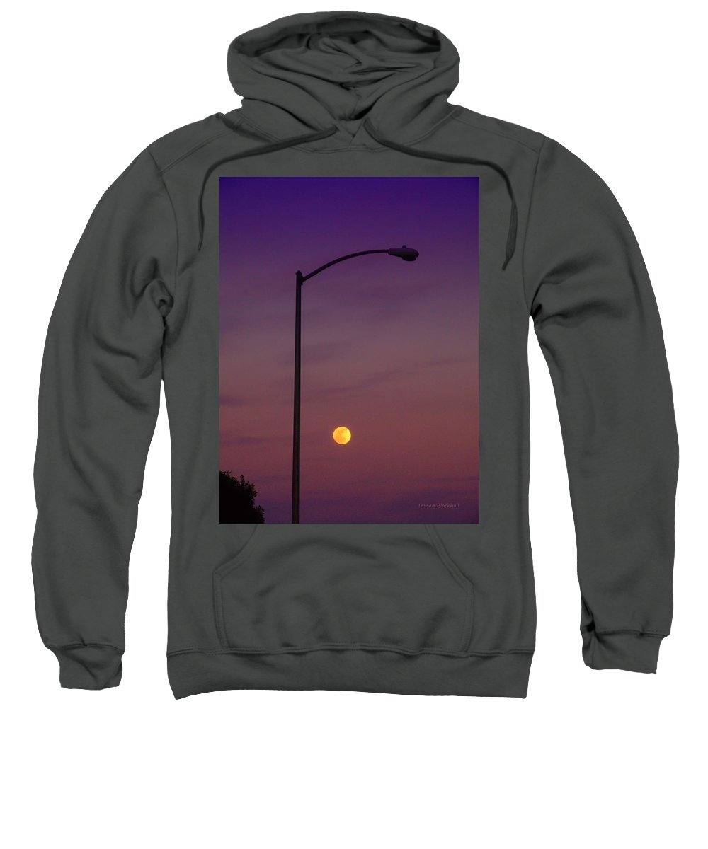Moon Sweatshirt featuring the photograph Who Needs A Lamp Post by Donna Blackhall