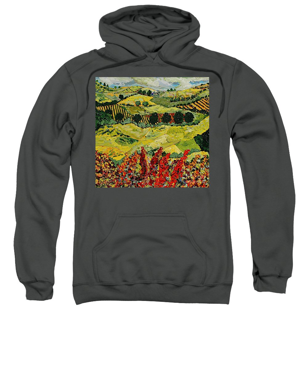 Landscape Sweatshirt featuring the painting Wildflower Jungle by Allan P Friedlander