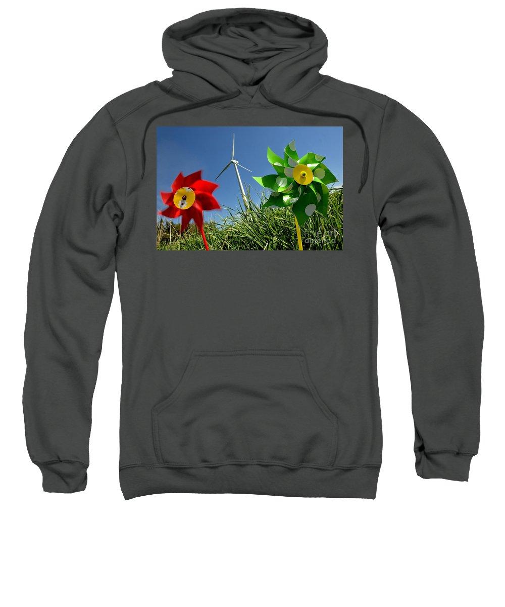 Air Sweatshirt featuring the photograph Wind Turbines And Toys by Bernard Jaubert