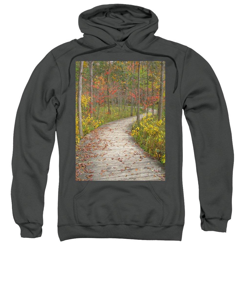 Autumn Sweatshirt featuring the photograph Winding Woods Walk by Ann Horn