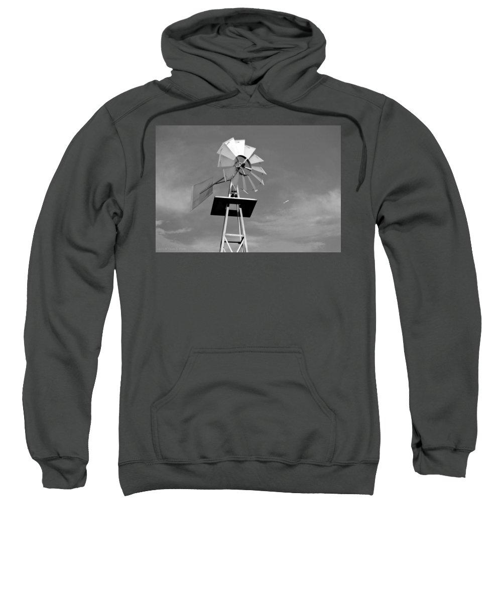 Windmill Sweatshirt featuring the photograph Windmill And Passing Plane by Tara Potts
