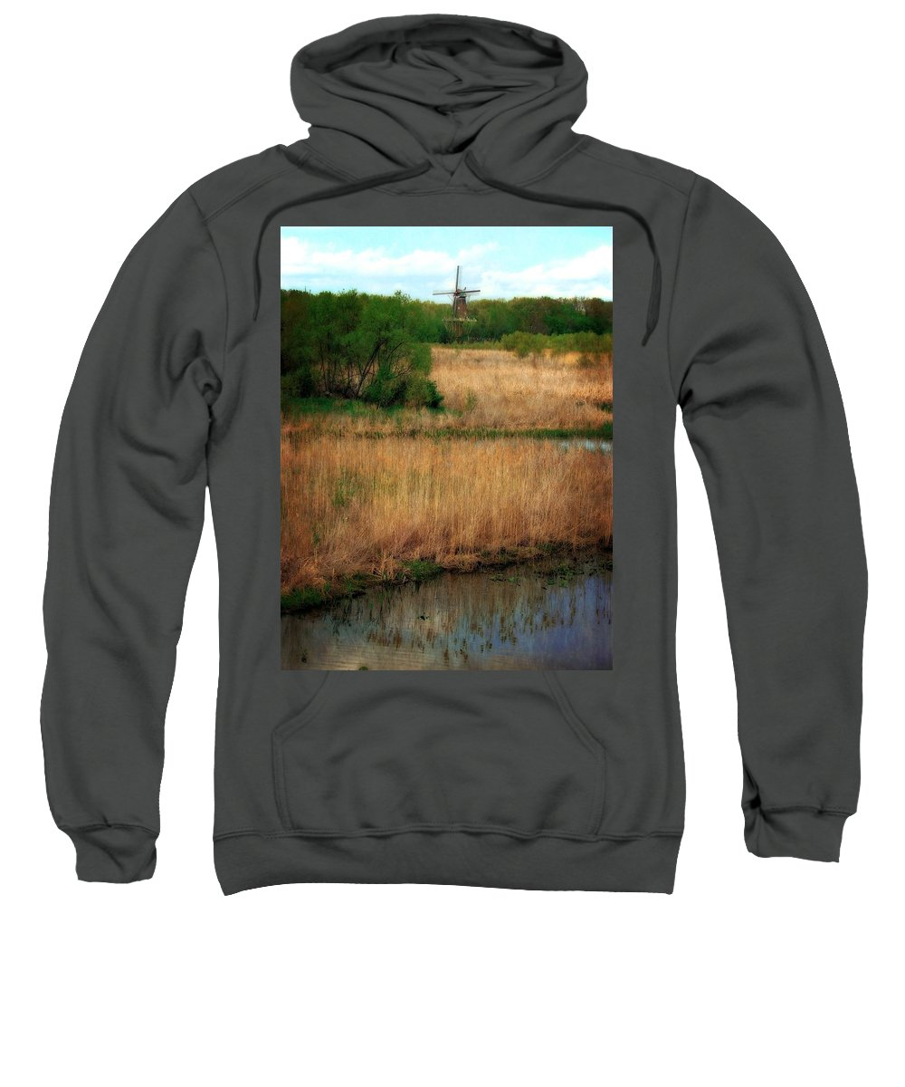 Windmill Island Sweatshirt featuring the photograph Window On The Waterfront Dezwaan Windmill by Michelle Calkins