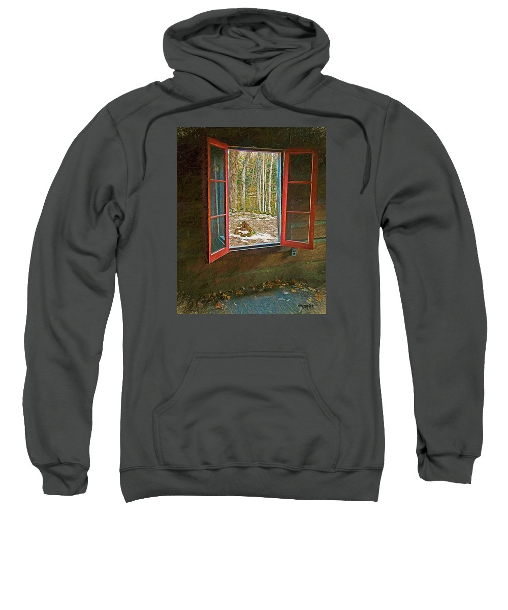 Window With View Sweatshirt featuring the photograph Window With View Abandoned Elkmont Log Cabin Autumn by Rebecca Korpita