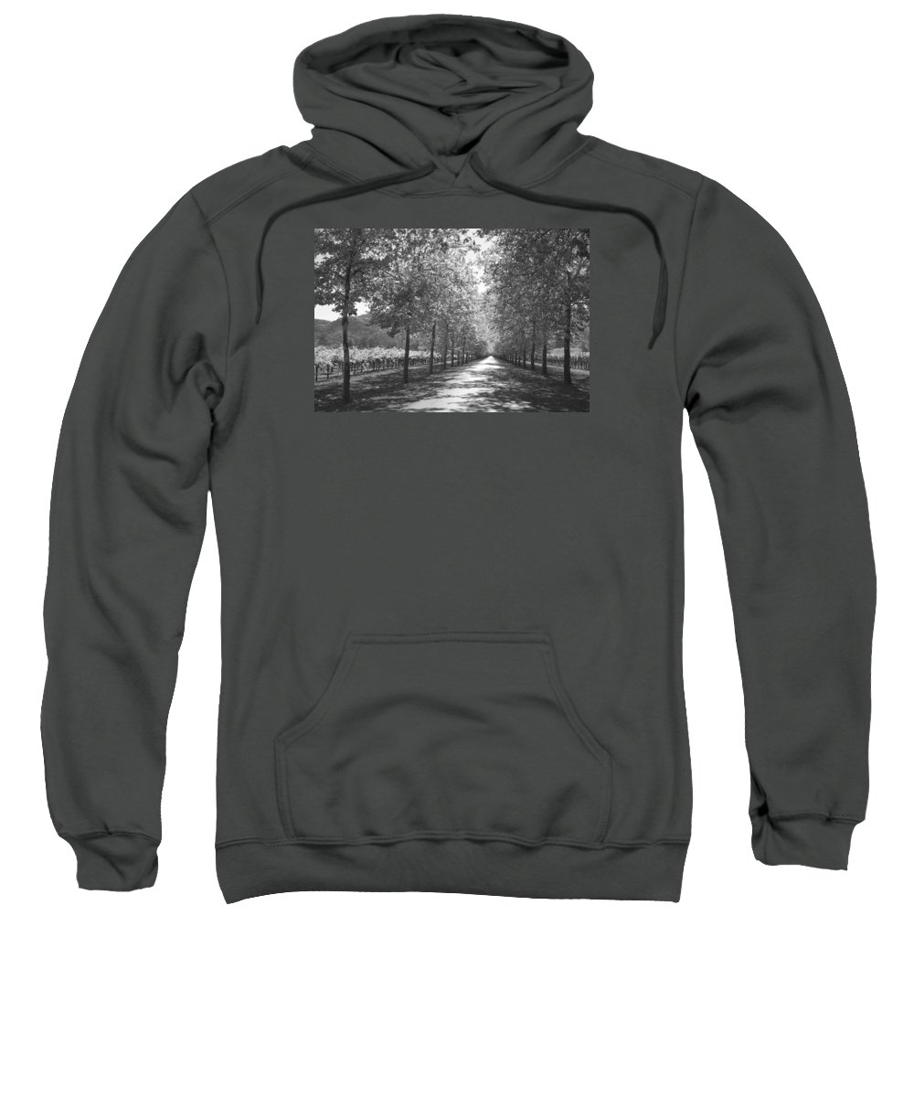 Black And White Sweatshirt featuring the photograph Wine Country Napa Black And White by Suzanne Gaff