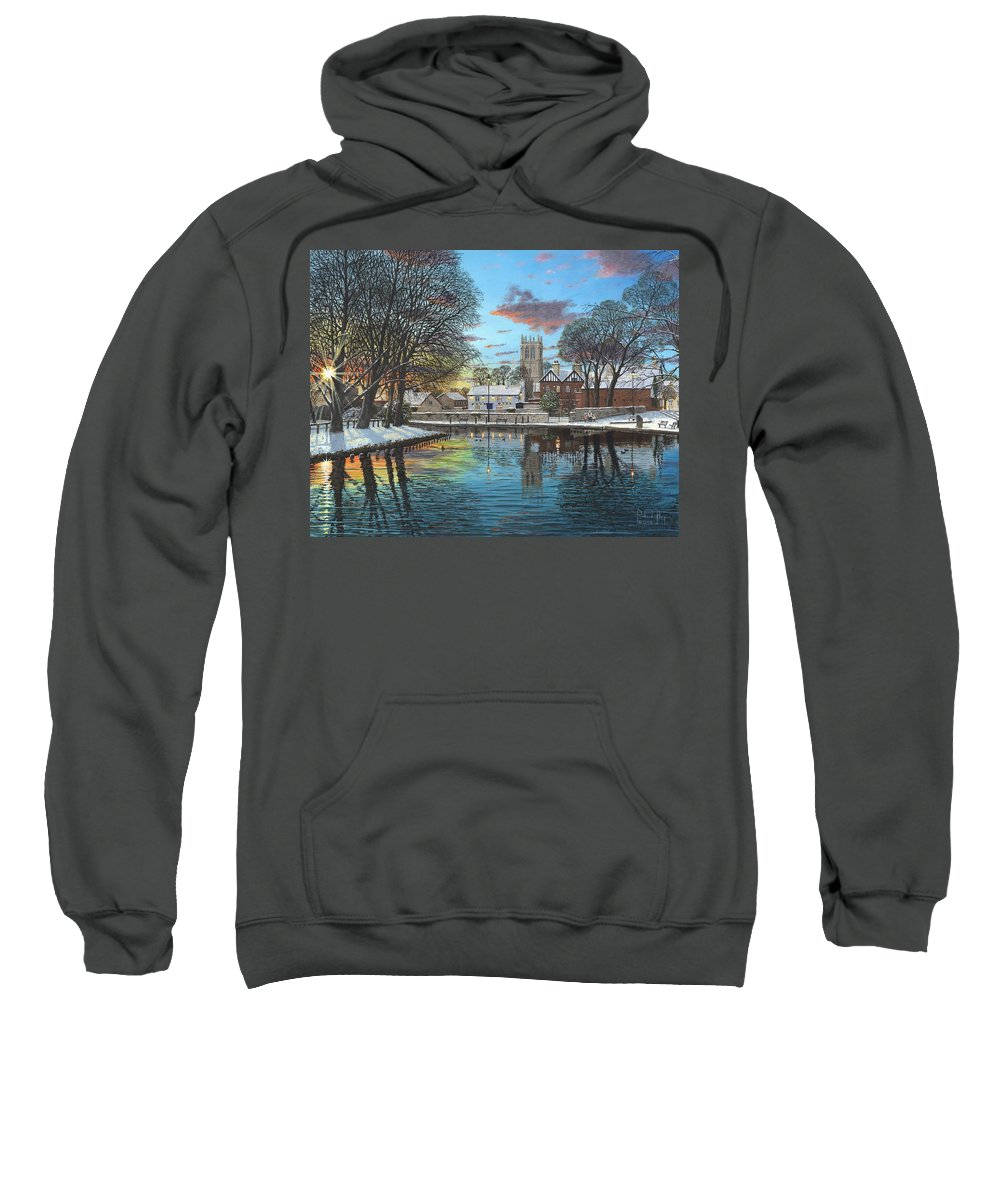 Tickhill Sweatshirt featuring the painting Winter Evening Tickhill Yorkshire by Richard Harpum