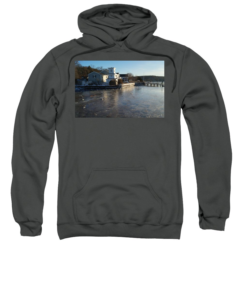 Winter Sweatshirt featuring the photograph Winter Harbor by John Wall