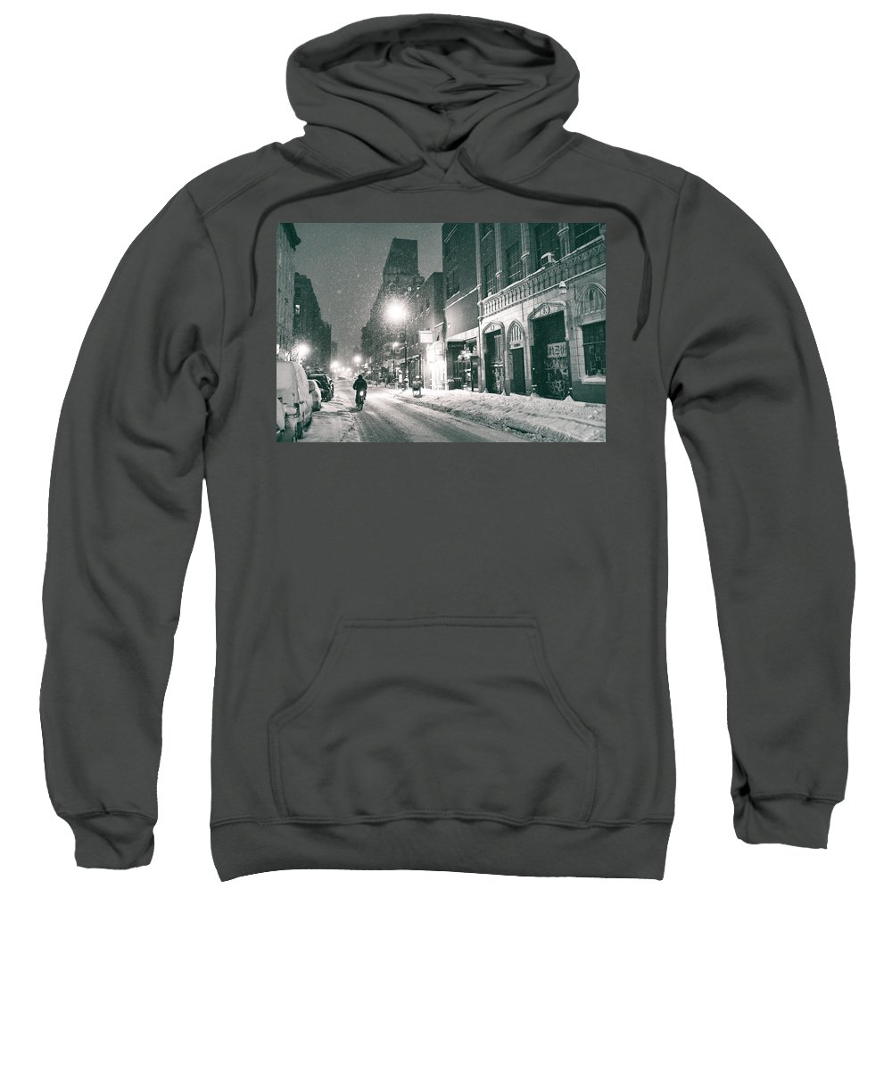 Nyc Sweatshirt featuring the photograph Winter Night - New York City - Lower East Side by Vivienne Gucwa