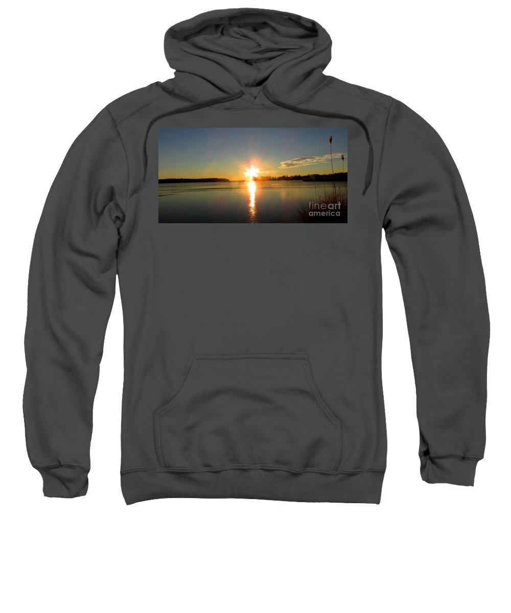 Winter River Sunrise Chesapeake Bay Sunrise Morning Bayscape Waterscapes Riverscapes Dundee Creek Sunrise December Dawn Natural Landscapes Naturescapes Winterscapes Winter Wetland Marshy Point Sunrise Sweatshirt featuring the photograph Winter River Sunrise by Joshua Bales