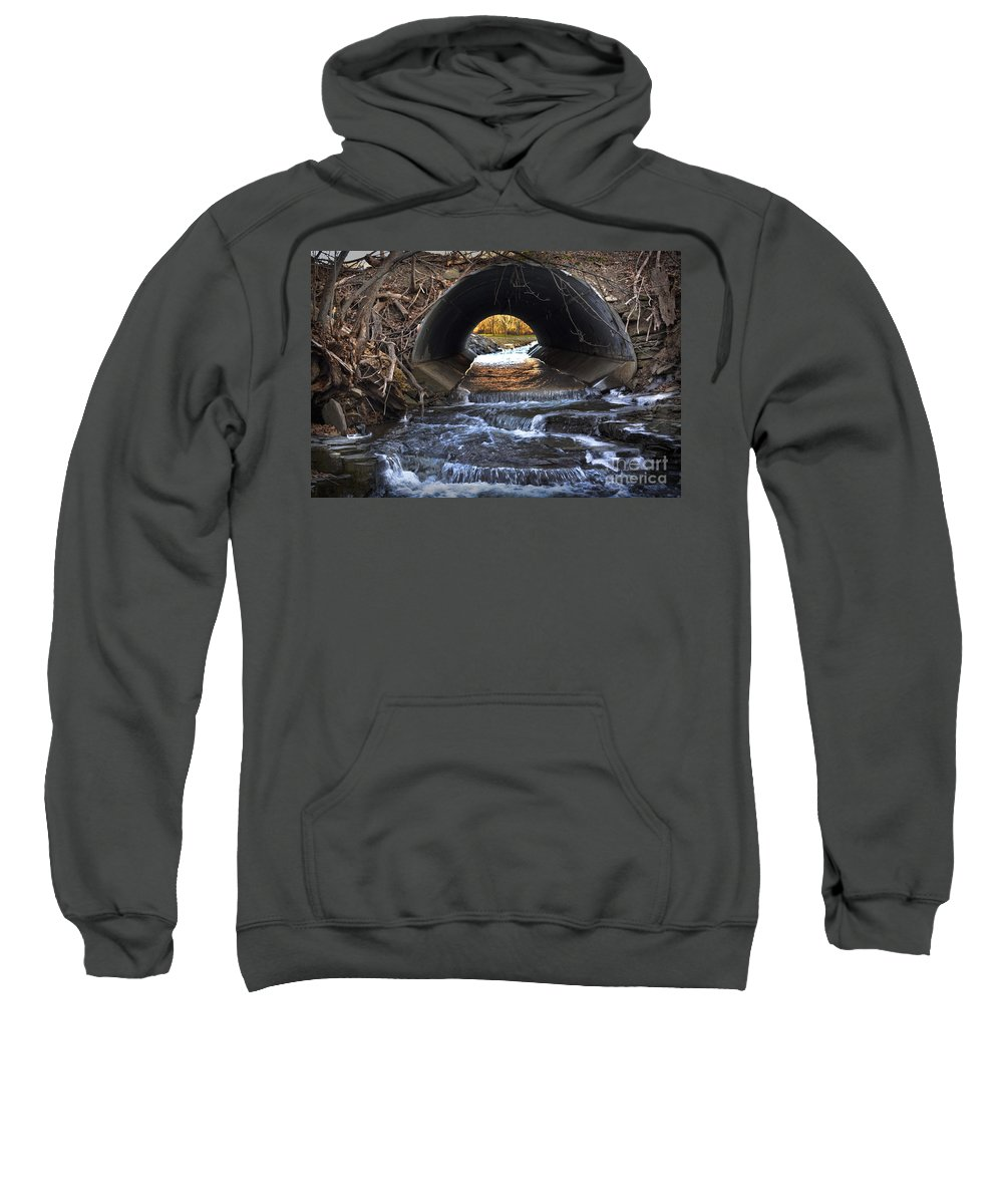Fall Sweatshirt featuring the photograph Winter Stream Media by Gary Keesler