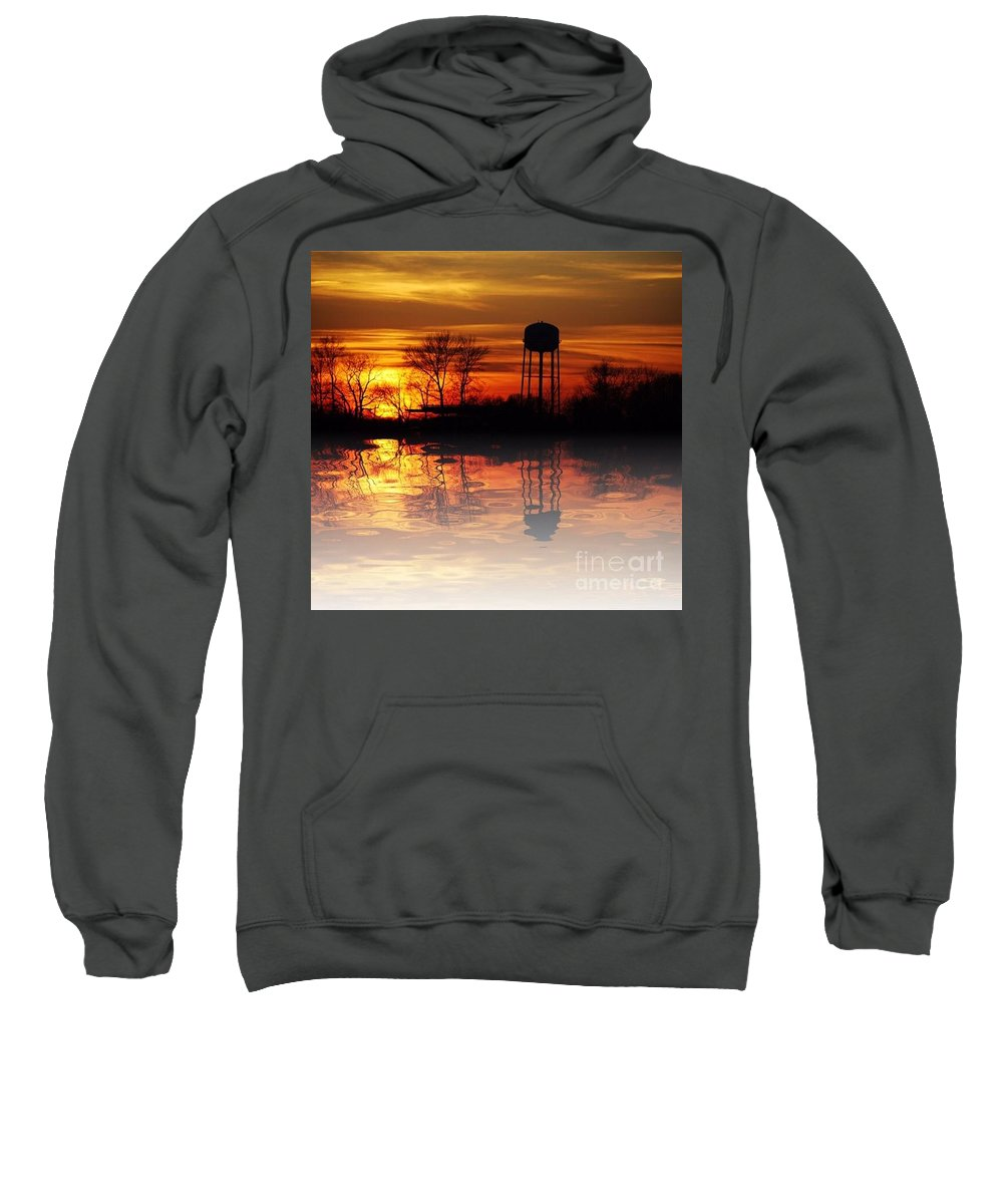 Sunset Sweatshirt featuring the photograph Winter's Reflection by Scott Polley