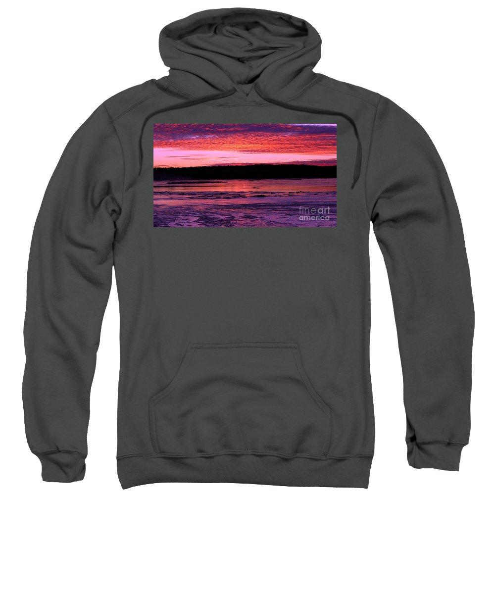 Platte River Sweatshirt featuring the photograph Winter's Sunset by Elizabeth Winter