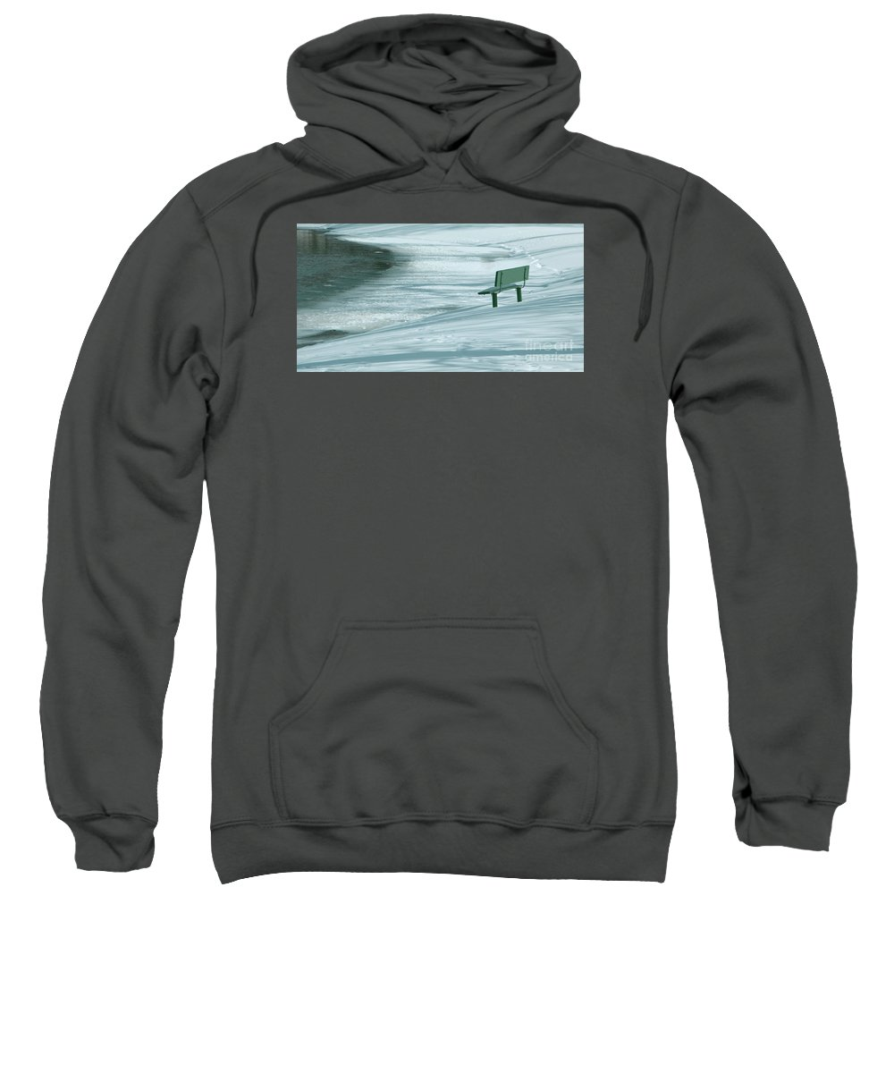 Winter Sweatshirt featuring the photograph Wintry Riverside by Ann Horn