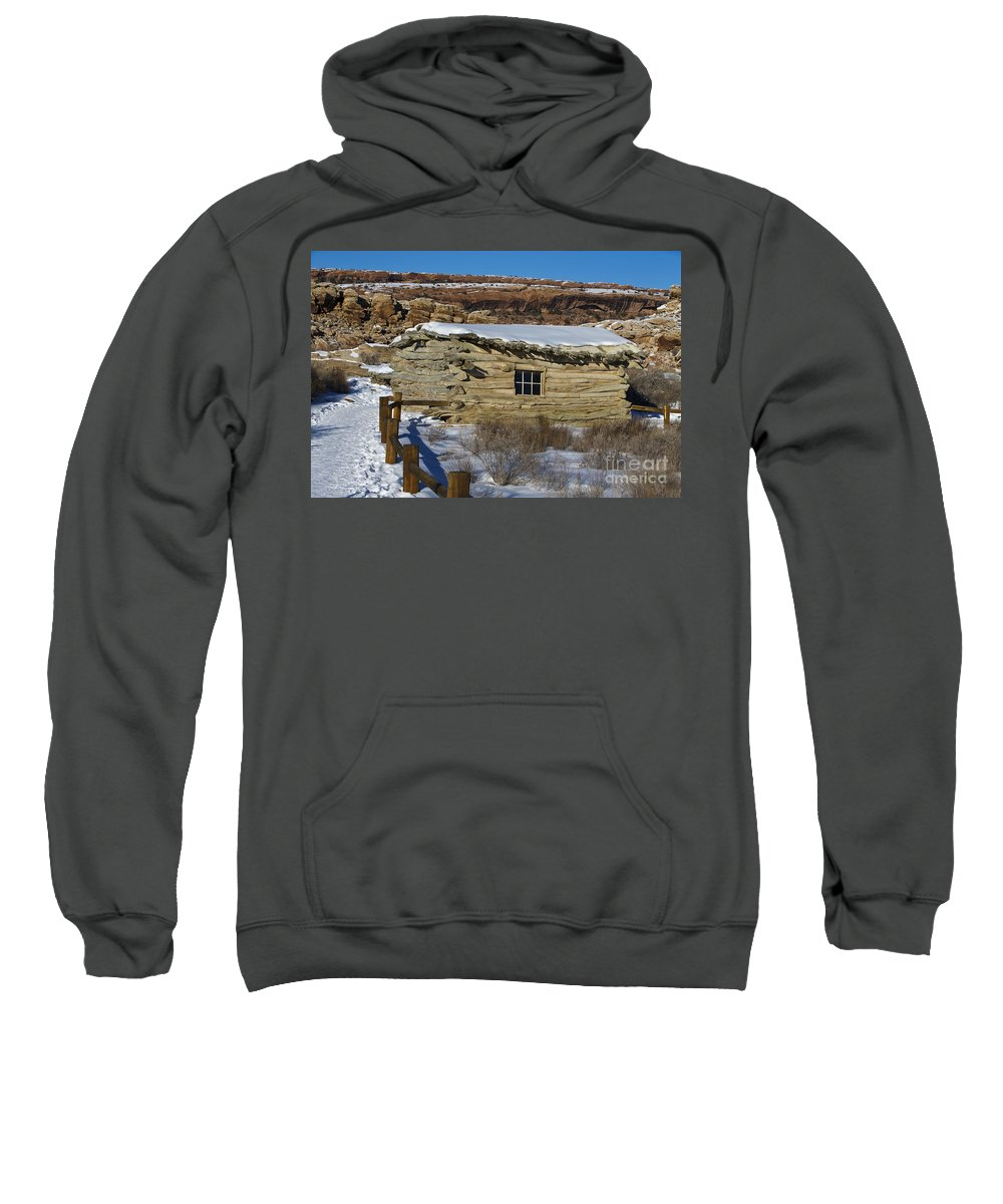 Arches Sweatshirt featuring the photograph Wolfe Ranch Cabin Arches National Park Utah by Jason O Watson