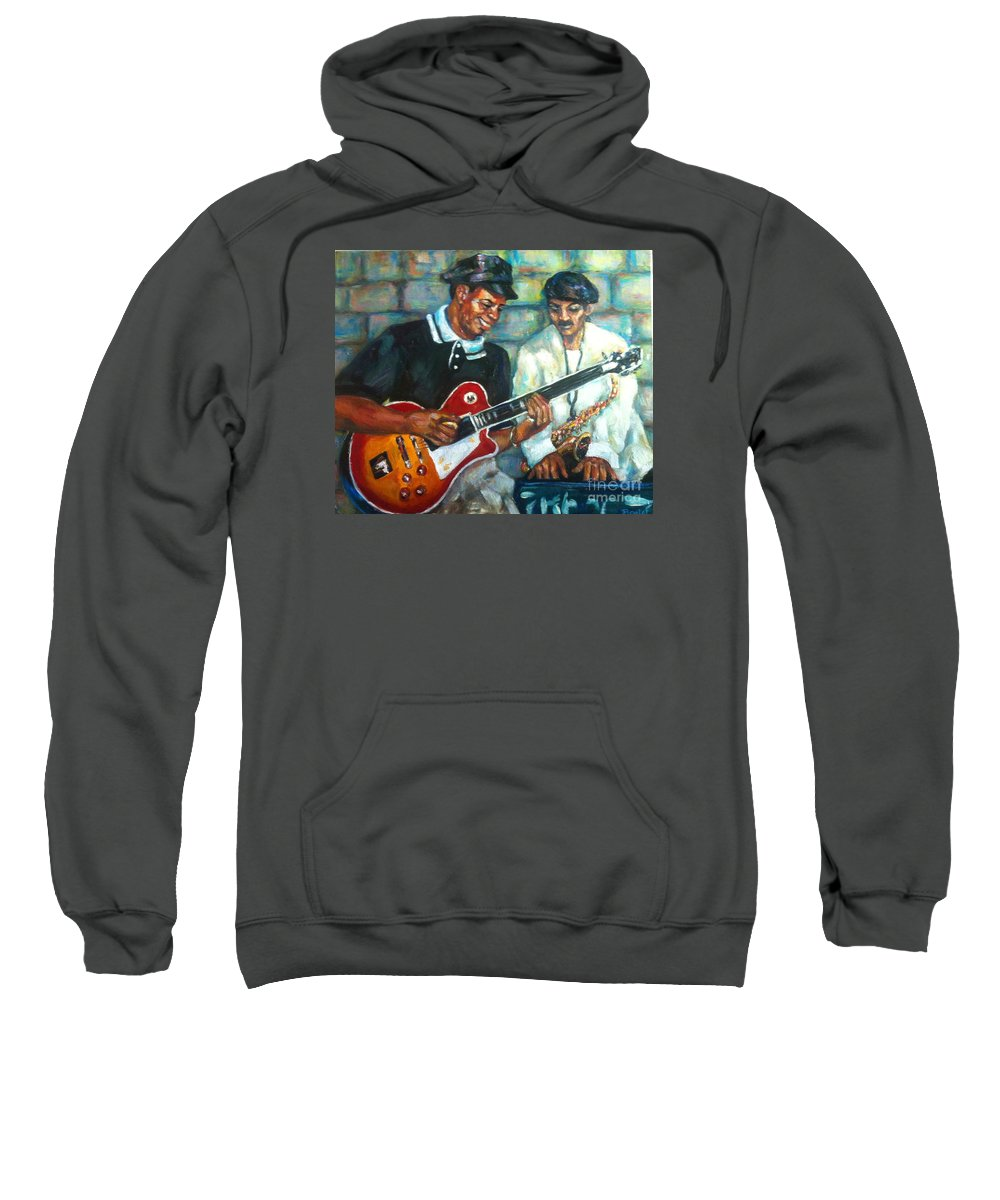 Guitar Sweatshirt featuring the painting Wolfman by Beverly Boulet