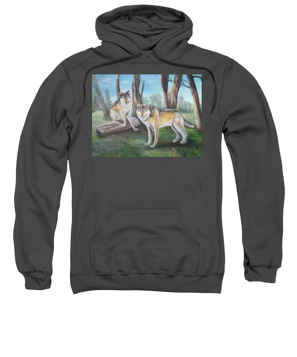 Gray Wolf Sweatshirt featuring the painting Wolves In The Forest by Thomas J Herring