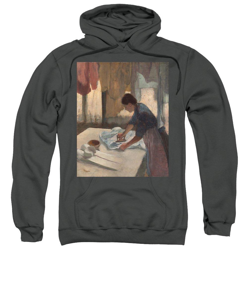 Woman Ironing Sweatshirt featuring the digital art Woman Ironing by Georgia Fowler