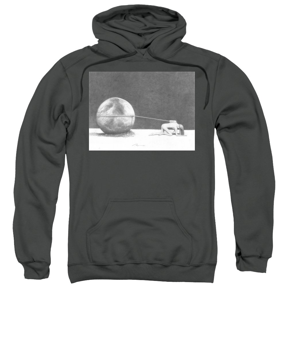 Woman Sweatshirt featuring the drawing Woman by Rick Yost
