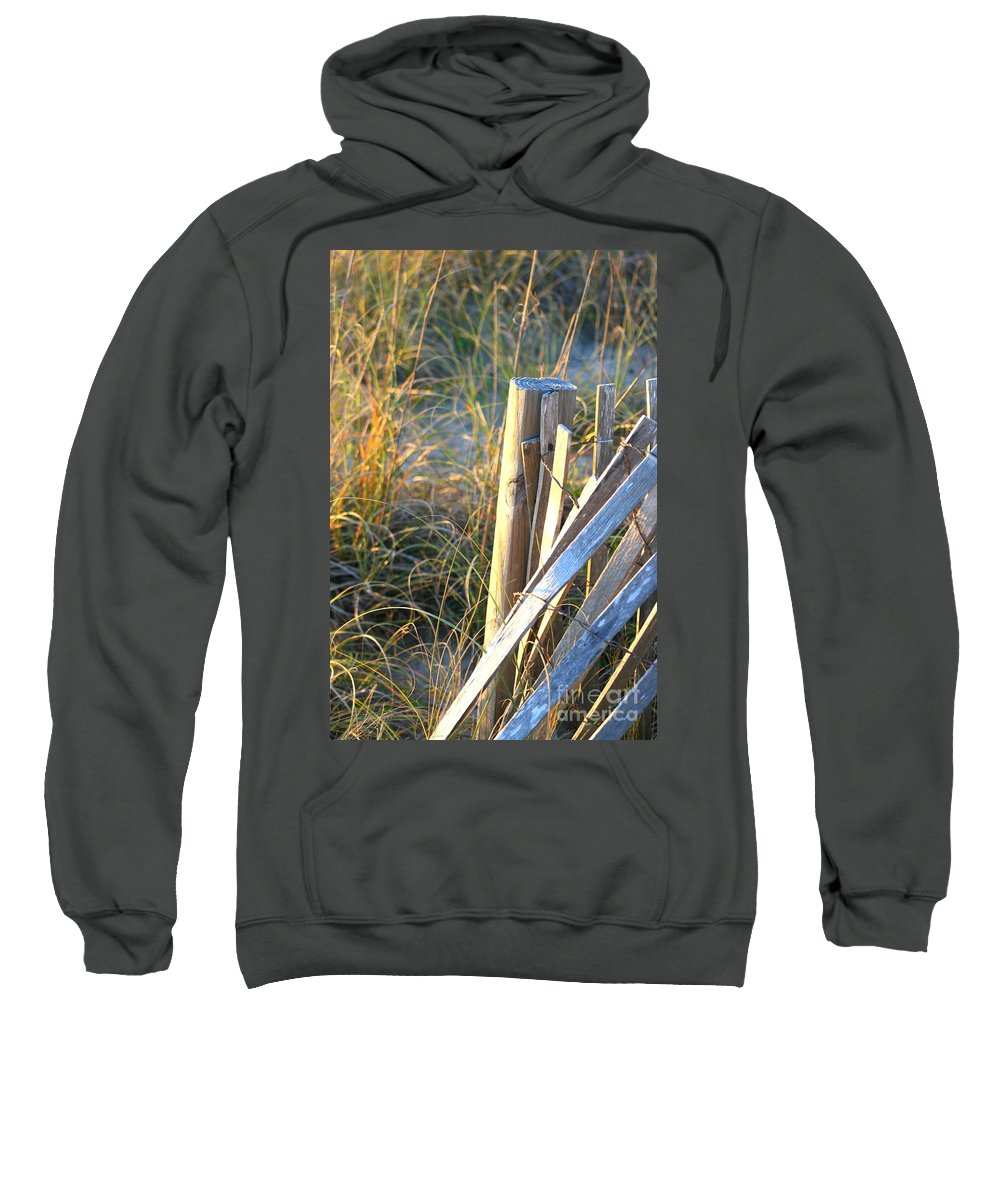 Post Sweatshirt featuring the photograph Wooden Post And Fence At The Beach by Nadine Rippelmeyer