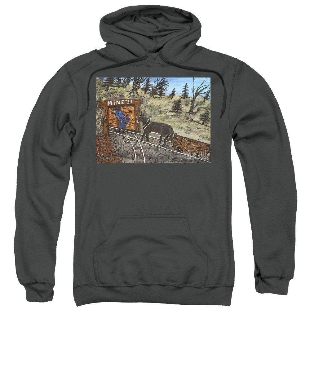 Coal Man Art Sweatshirt featuring the painting The Coal Mine by Jeffrey Koss