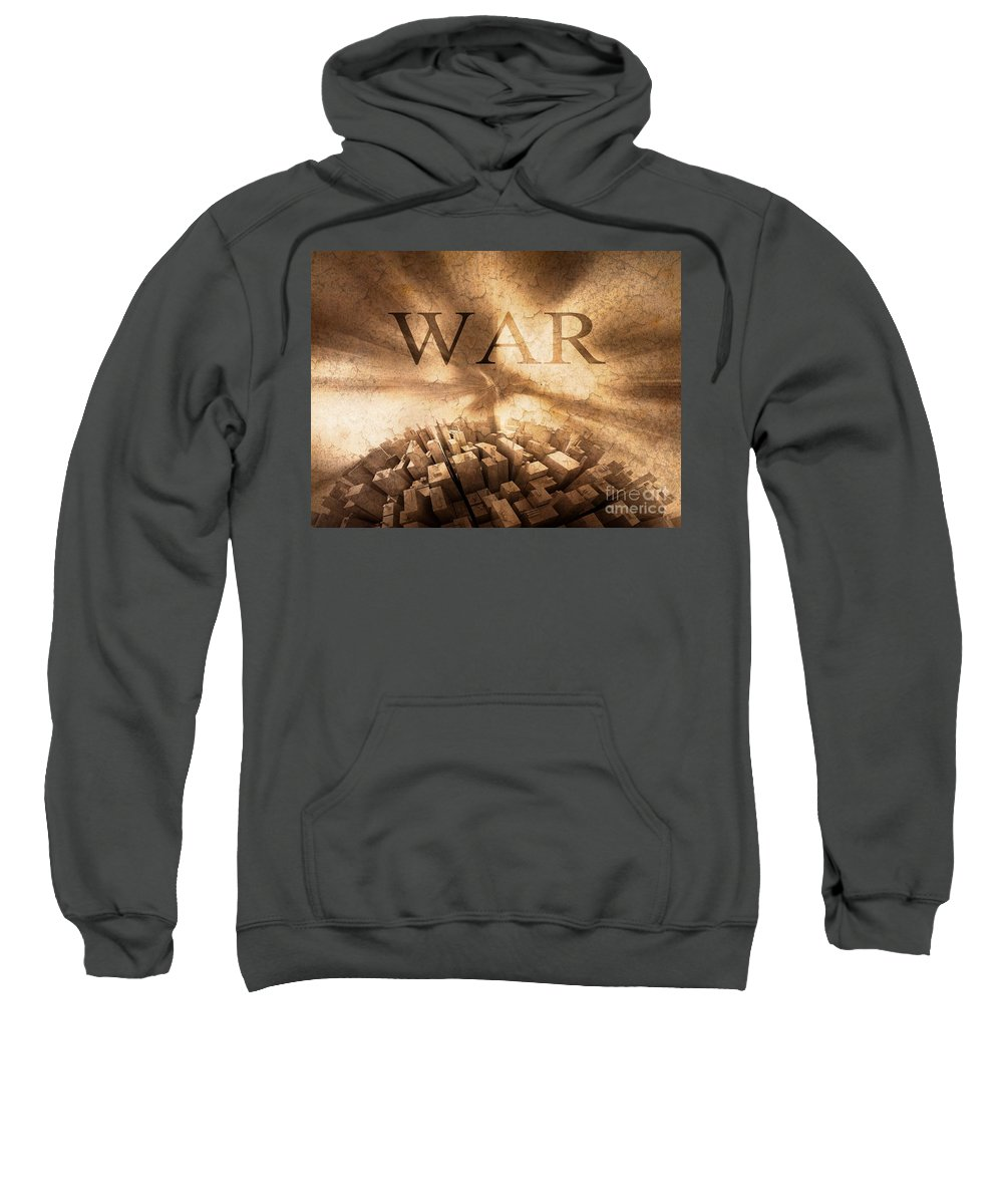 3d Sweatshirt featuring the painting World War by Stefano Senise