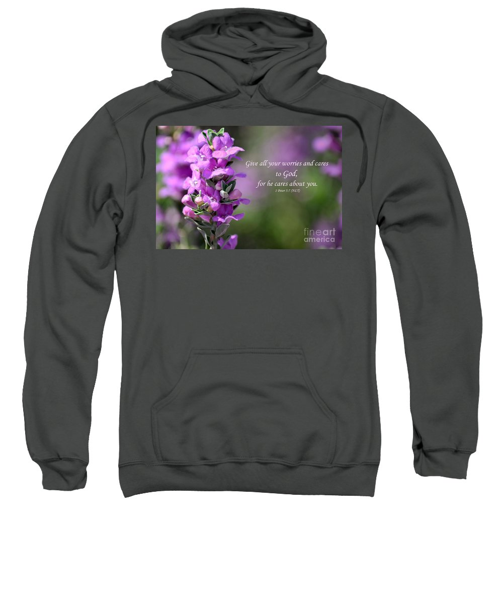 Purple Sage Sweatshirt featuring the photograph Worry Free by Deb Halloran