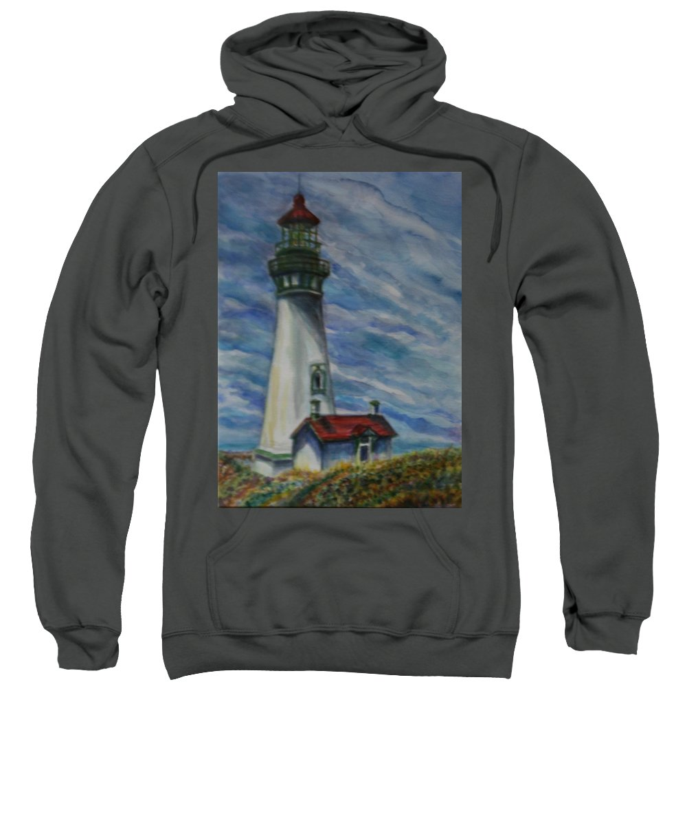 Quin Sweetman Sweatshirt featuring the painting Yaquina Head Lighthouse Original Painting by Quin Sweetman