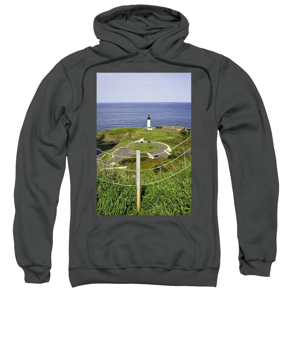 Newport Sweatshirt featuring the photograph Yaquina Lighthouse From Salal Hill Trail by Image Takers Photography LLC - Laura Morgan