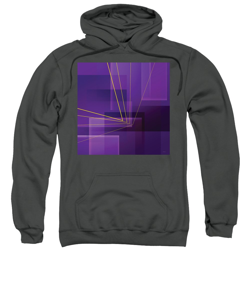 Abstract Sweatshirt featuring the digital art Yellow Angles Through Purple Landscape by James Kramer