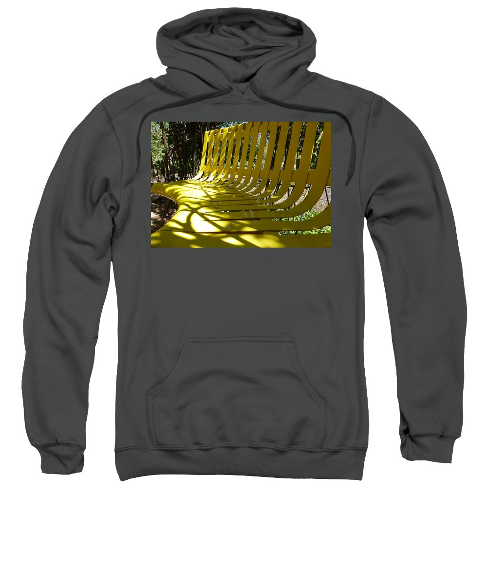 Yellow Sweatshirt featuring the photograph Yellow Bench by Claudia Goodell