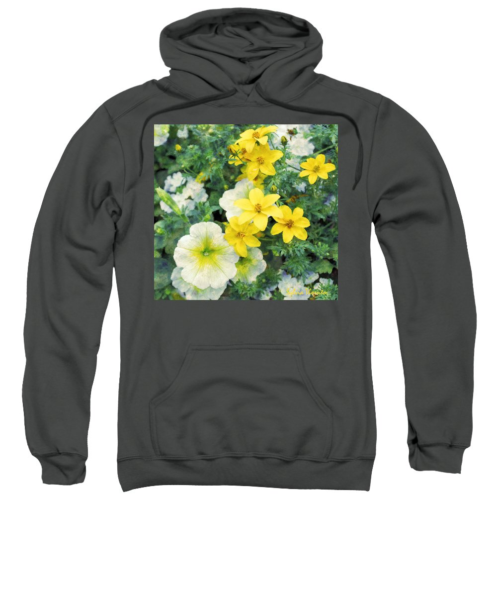 Yellow Petunia Sweatshirt featuring the photograph Yellow Cascade by Sylvia Thornton